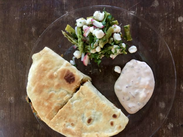 Sweet Potato Black Bean Quesadillas with Chipotle Sour Cream and Asparagus Hominy Salad