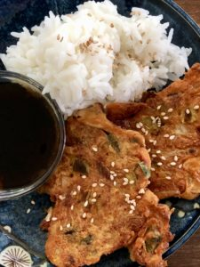 Kimchi Pancakes with rice and dipping sauce - Kimchijeon