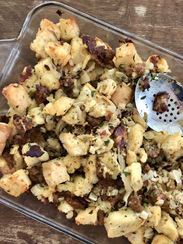 Fennel and Sausage Stuffing with bacon, wine, and good things