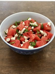 Watermelon and Feta Salad with mint and a lemon juice and olive oil dressing